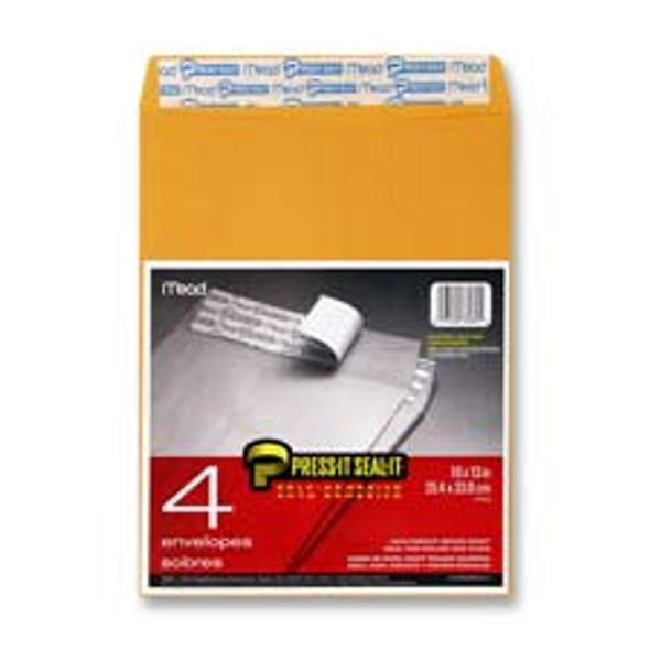 """Press-It-Seal-It  Envelope - 10 x 13"""", Brown 4 ct"""
