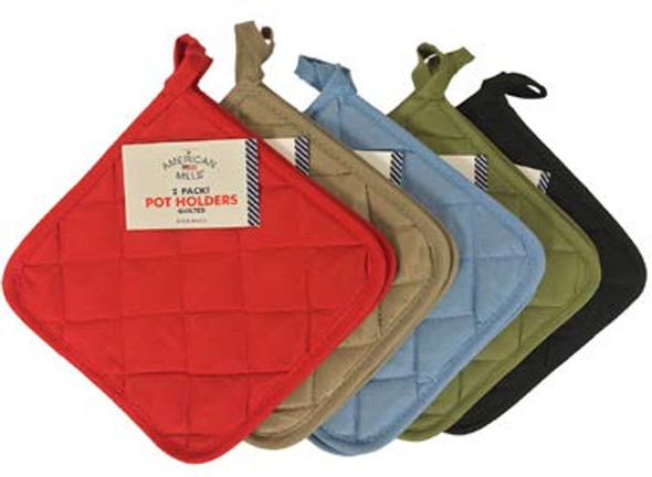 Assorted Solid Pot Holders 2 pk - Assorted, 2 pk