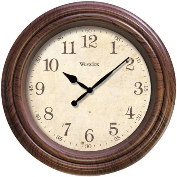 """Woodgrain Wall Clock - 10"""""""