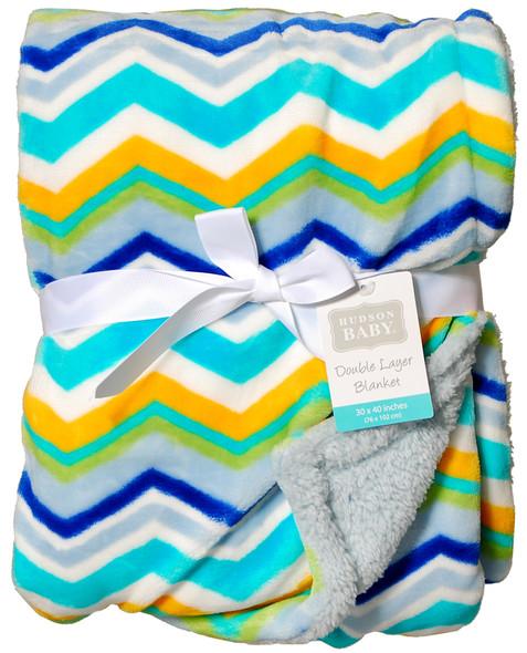 "Plush Baby Blanket w/ Sherpa - Asst, 30""x40"""