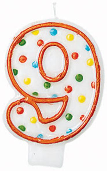 "Polka Dot Birthday Candles - #9, 3"""
