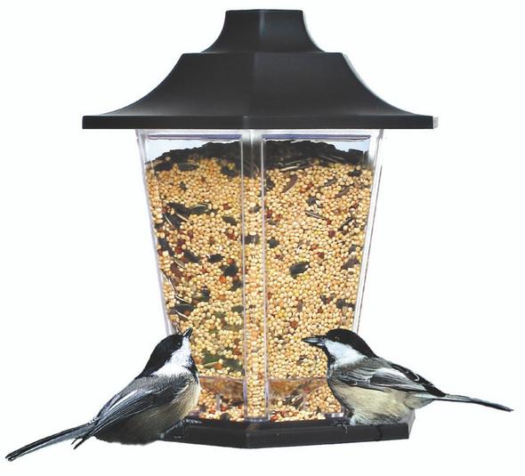 Carriage Lantern Bird Feeder - 1.5 lb, Black/Clear