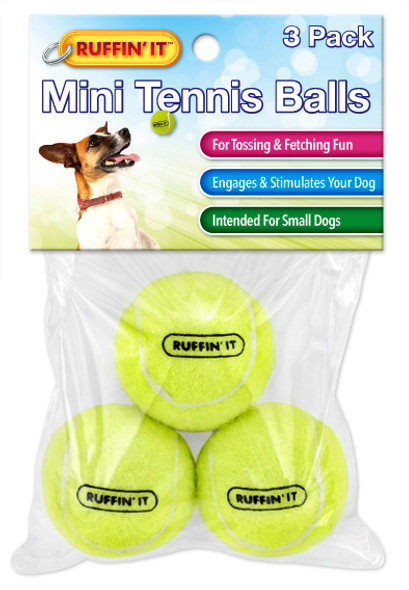 Ruffin It Small Tennis Balls Pet Toy - 3 pk