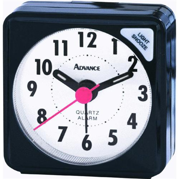 Quartz Analog Cube Travel Alarm Clock - Black