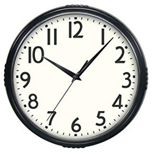 """Retro Clock - Black, 9.5"""""""