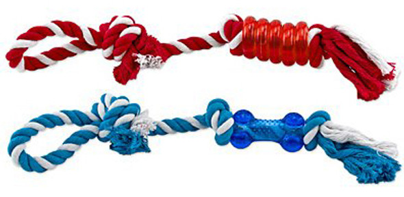 Knotted Rope w/Tough Chew Dog Toy - Asst