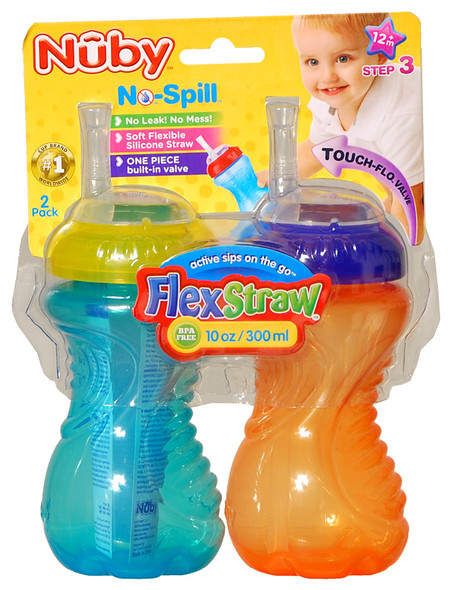 Nuby No-Spill Sippy Cup With Flexi Straw 2 pk - 10 oz, Asst