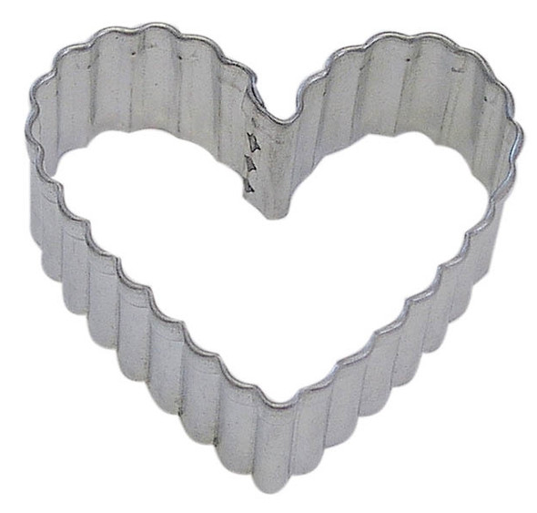 """Fluted Heart Cookie Cutter - Silver, 2.5"""""""