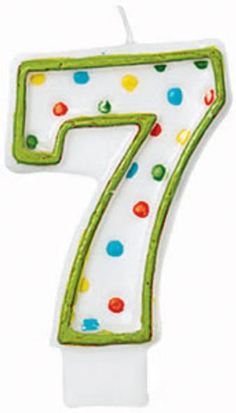 "Polka Dot Birthday Candles - #7, 3"""