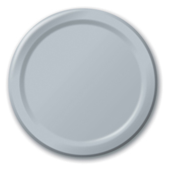 "Solid Color Dinner Plates - Shimmering Silver, 9"""