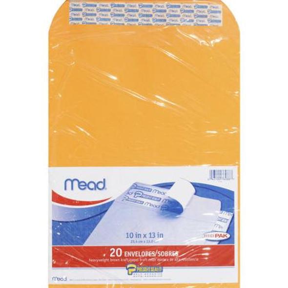"""Mead Kraft Press-it-Seal Envelope - 10 x 13"""", Brown Kraft 20 ct"""
