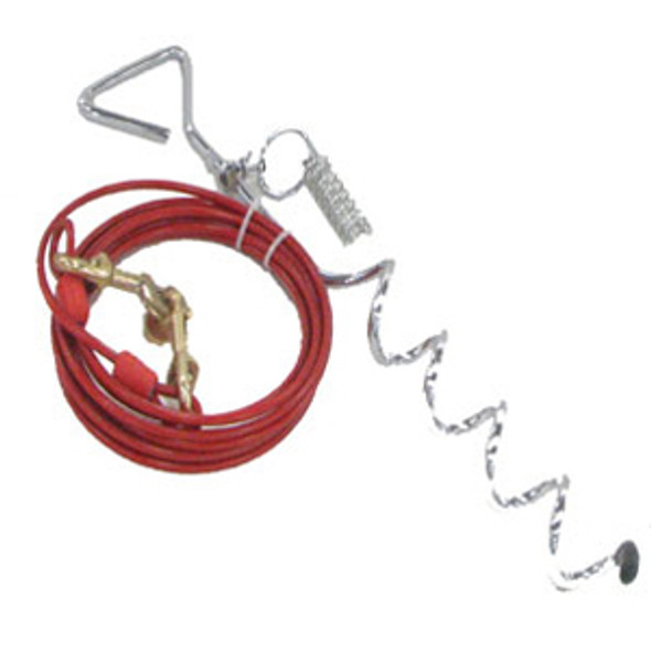 Chrome Pet Tie Out Stake w/Cable - 15'