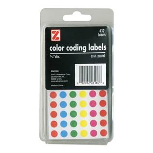 "Color Coded Dot Labels - Asst Neon  432 ct, 5/16"" Rnd"