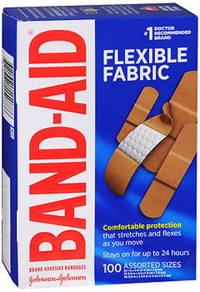Band Aid Flexible Fabric Adhesive Bandages Assorted - 100ct