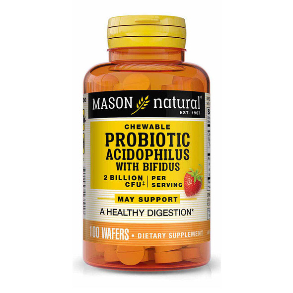 Mason Natural Chewable Acidophilus with Bifidus Wafers Strawberry - 100ct