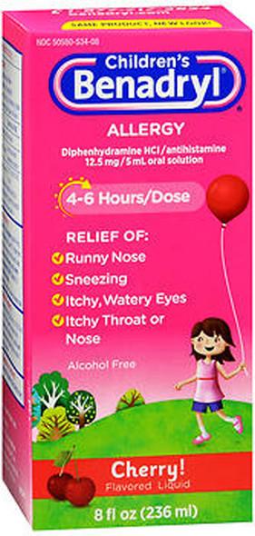 Benadryl Children's Allergy Liquid Cherry Flavored - 8 oz