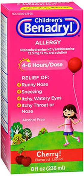 Benadryl Children's Allergy Liquid Cherry Flavored - 8 oz