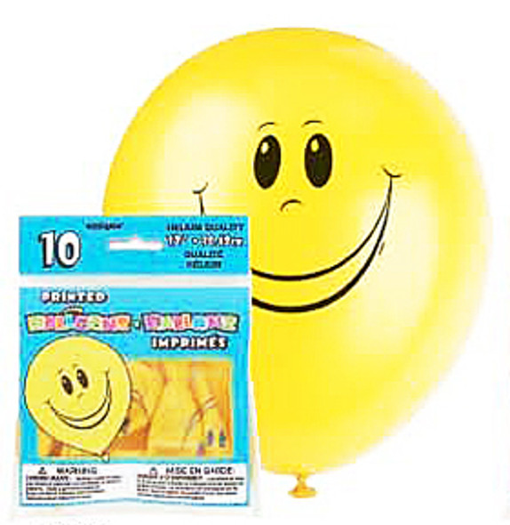 Deluxe Silk Screen Imprint Balloons - Yellow Happy Face, 12""
