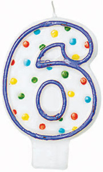 "Polka Dot Birthday Candles - #6, 3"""