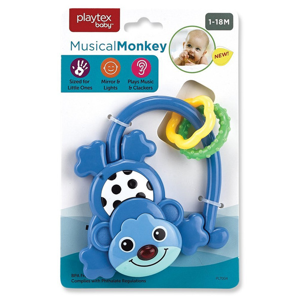 Musical Monkey Rattle Baby Toy - Asst