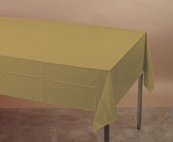 """Solid Color Plastic Tablecover - Glittering Gold, 54x108"""""""