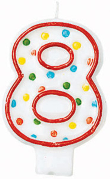 Polka Dot Birthday Candles - #8, 3""