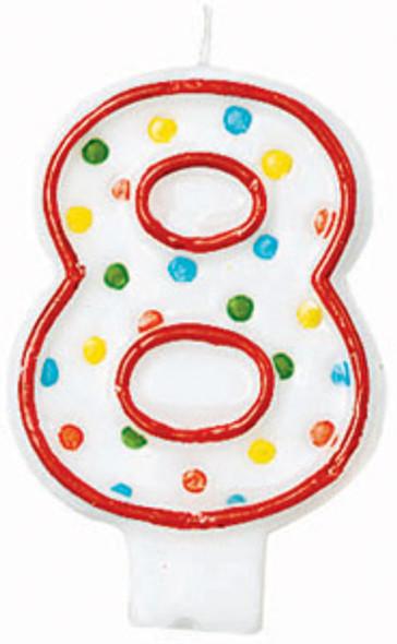 "Polka Dot Birthday Candles - #8, 3"""