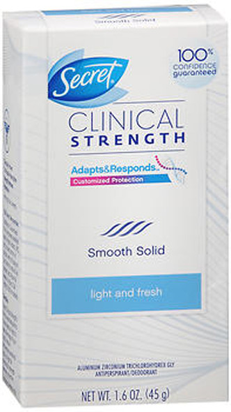Secret Clinical Strength Antiperspirant/Deodorant Smooth Solid Light and Fresh Scent - 1.6 oz