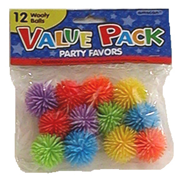 Party Favors, Wooly Balls - Asst, 12 ct