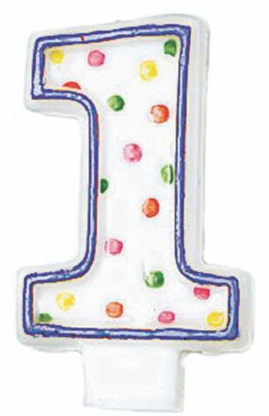 Polka Dot Birthday Candles - #1, 3""