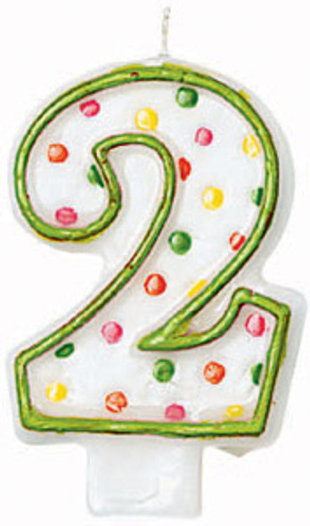 Polka Dot Birthday Candles - #2, 3""