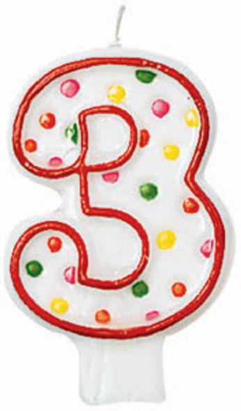 "Polka Dot Birthday Candles - #3, 3"""