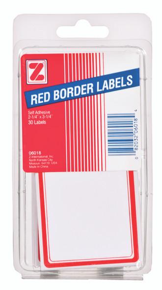 "Red Border Label - 30 ct, 2x3"""
