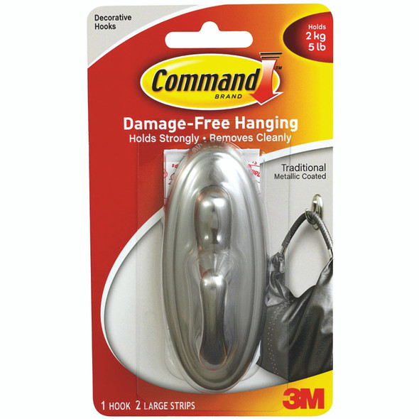 Command Traditional Large Hook - Metallic Coated, 5 lb