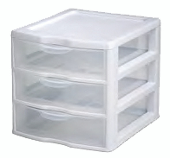 Mini Storage Organizer - Clear/White, 3 Drawer