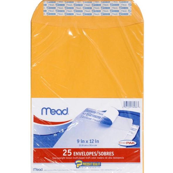"""Mead Kraft Press-it-Seal Envelope - Brown Kraft 25 ct, 9 x 12"""""""