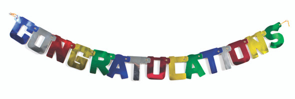 Deluxe Congrats Banner Decoration - Primary