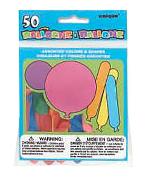 Party Balloons - Asst, 50 ct