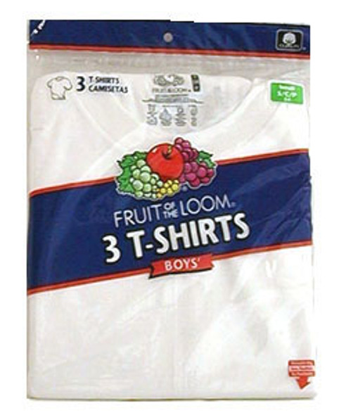 Boy's White Crew Neck T-Shirt 3-Pack - White, Large