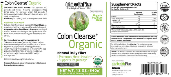 HealthPlus Organic Colon Cleanse - 12 oz