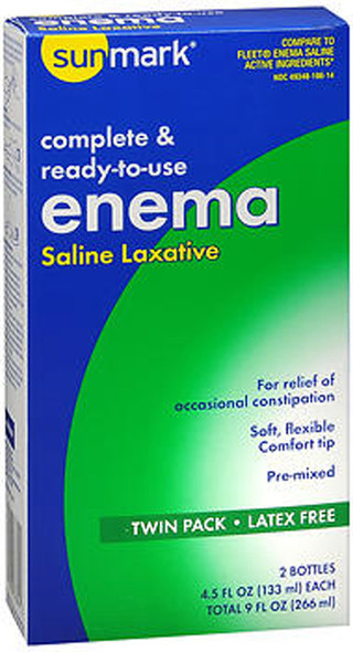 Sunmark Complete & Ready-to-use Enema Saline Laxative Twin Pack - 9 oz