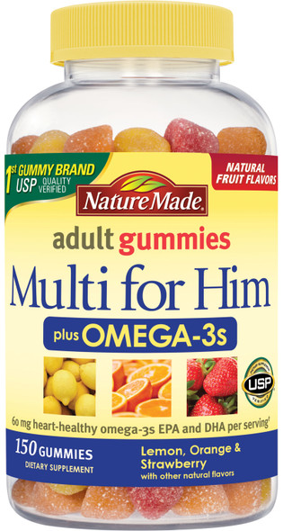 Nature Made Multi for Him + Omega-3, Lemon, Orange & Strawberry Adult Gummies - 150 ct