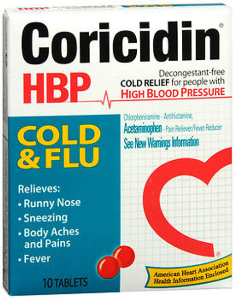 Coricidin HBP Tablets Cold and Flu - 10 ct