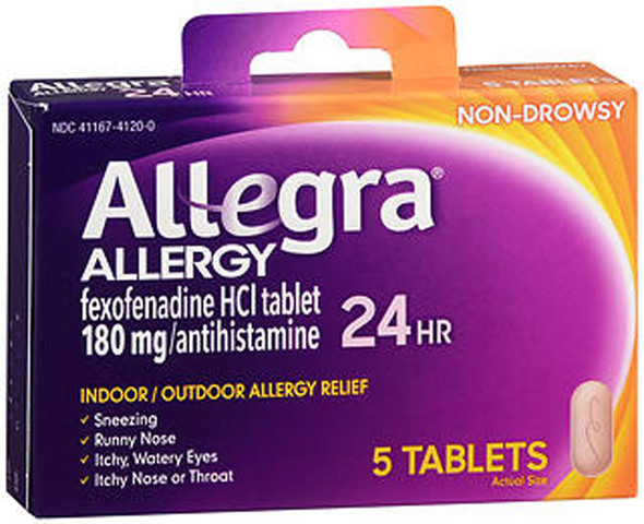 Allegra 24-Hour Allergy Relief - 5 Tablets