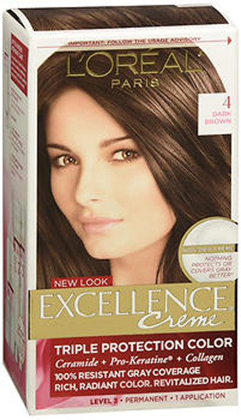 L'Oreal Excellence Non-Drip Creme Triple Protection Color Dark Brown Natural 4