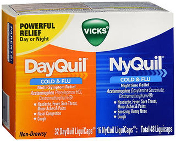 Vicks DayQuil/NyQuil Cold & Flu Multi-Symptom/Nighttime Relief LiquiCaps - 48ct