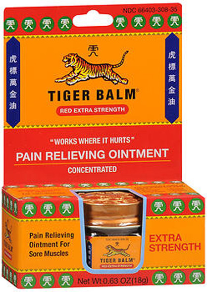 Tiger Balm Pain Relieving Ointment Red Extra Strength - 0.63 oz