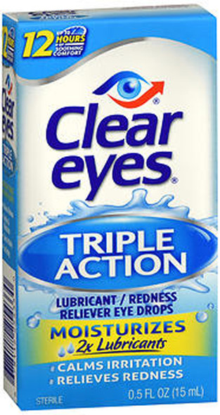 Clear Eyes Triple Action Relief Eye Drops - 0.5 oz