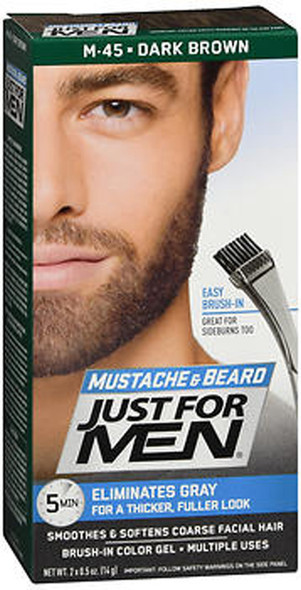 Just For Men Mustache & Beard Brush-In Color Gel Dark Brown M-45 - 1 ea.