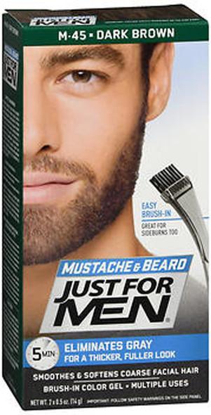 Just For Men Mustache & Beard Brush-In Color Gel Dark Brown M-45 - 1 ea.